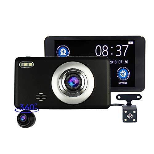 Recordo de conducción Car DVR Full HD, cámara de grabación Triple de Pantalla táctil de 4 Pulgadas, visión Nocturna de Alta definición de 1080p, monitoreo de 360 Grados, Gran Angular de 140 Grados,