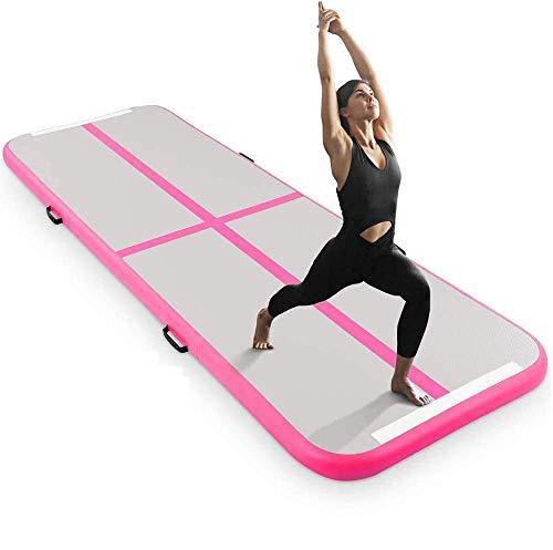 YUHT 10 pies de gimnasia inflable pista de aire estera para pista de aire 4 pulgadas de espesor esteras para uso doméstico/entrenamiento/animadoras/yoga pista de aire