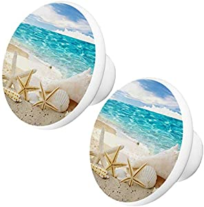 Set of 2 Starfish On Beach #1 Ceramic Cabinet Drawer Knobs