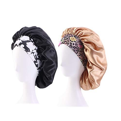 2PCS Satin Hair Bonnet for Black Women Elastic Wide Band Sleep cap Single Layer Silkly satin cap for Braid curly natural hair Black + Khaki
