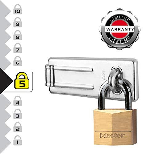 Master Lock 140703EURD Pack Including Door Hasp and Keyed Padlock