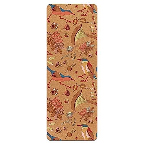 N\C Esta Esterilla de Yoga Utiliza un Grosor de 5 mm, el Material es Corcho TPE Antideslizante, tamaño es: 183 cm x 61 cm, Tiene un Agarre Fuerte, Adecuado para Deportes en Interiores y Exteriores