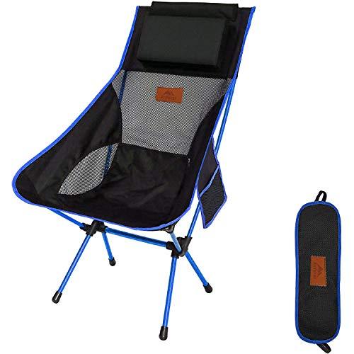 AnYoker アウトドアチェア 折りたたみ 超軽量【 選べる4色】【ハイバック】【耐荷重120kg】枕付き コンパクト イス 椅子 収納袋付属 お釣り 登山 携帯便利 キャンプ椅子 001 (Blue/ハイバック-S1)