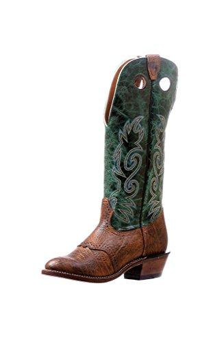 Botas Americanas–Botas Cowboy bo-5244-e (pie Normal)–Hombre–Piel–Verde/Marrón, Verde (Shoulder Buffalo Bill Matte/Faraon Peppermint), 46.5