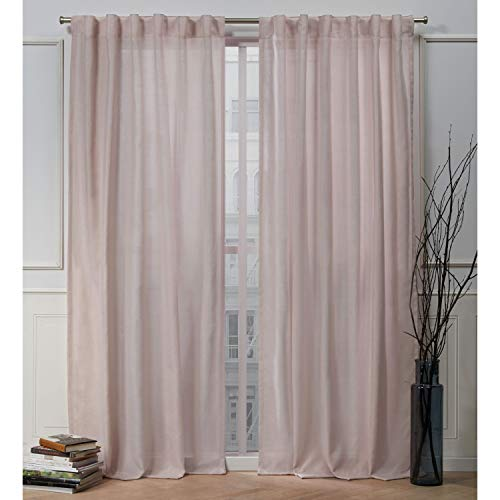 Nicole Miller Faux Linen Slub Hidden Tab Top Curtain Panel, Blush, 54x96, 2 Piece