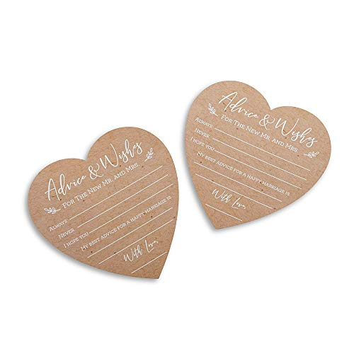 Kate Aspen Wedding Advice Card - Heart Shape (Set of 50) Party Game, kraft, white