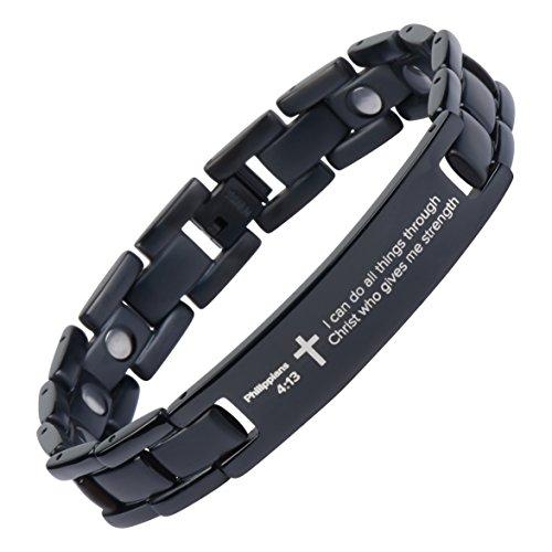 Philippians 4:13 - Titanium Prayer Bracelet - Magnetic Therapy - Adjustable (Black-colored)