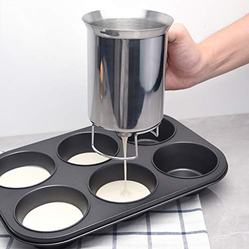 Overstep Handheld Stainless Steel Batter Dispenser Cupcake Cake Batter Funnel Mixing Professional Kitchen Baking Tools