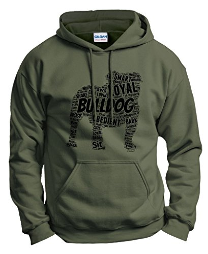 Dog Accessories English Bulldog Word Art Dog Puppy Owner Gift Hoodie Sweatshirt 2XL MlGrn Military Green