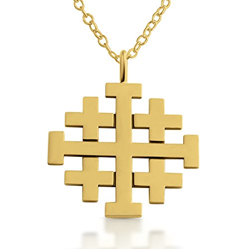 Azaggi Jerusalem Crusaders Cross Pendant Necklace 14k Gold Plating Over 925 Sterling Silver (22 Inches) Jewelry Gift