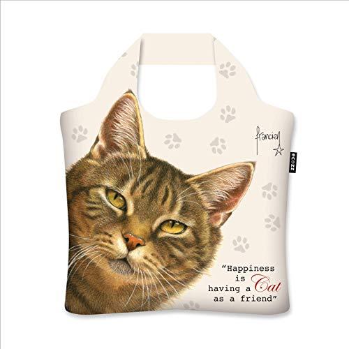 ecozz Katze - Francien, faltbar, Einkaufstasche mit Reißverschluss, Wiederverwendbar, Tragetasche, Handtasche, Tote Bag, Strandtasche, Umweltfreundlich, Einkaufsbeutel, Shopper, Shopping Bag