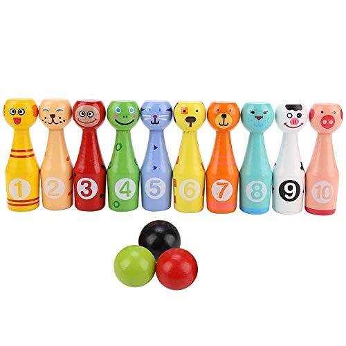 Unibell kegelspiel für Kinder, Kinder Bildungs-Tier Bowling Flasche Kugel Kinder im Freien Spiel Holz-Spielzeug