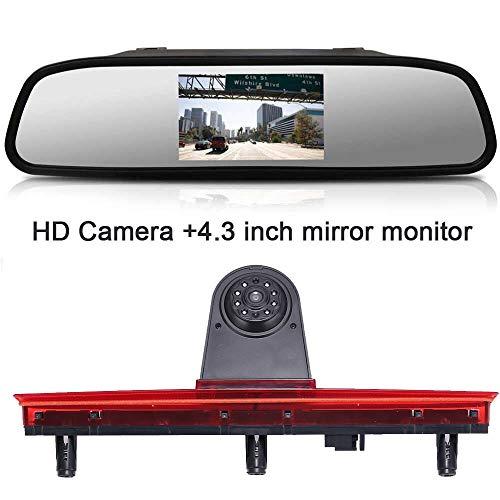 Top Mount Bremsleuchte Kamera Bremslicht Rückfahrkamera +4.3 Zoll Rückspiegel Monitor Einparkkamera Rückfahrsystem für VW T5 Bus Transporter Multivan Caravelle 2003-2015 Bj
