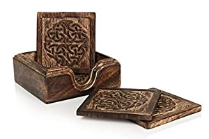 Store Indya Set of 4 Wood Coasters-Rustic Finish-Absorbent Eco-Friendly Protects Furniture from Water Stains & Damages