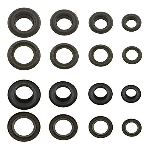 GETMORE Parts Ösen mit Gegenscheiben, Messing-Ösen, Metallöse, Rundöse mit Scheibe, Messing, rostfrei - 100 Stück, schwarz, 5 mm