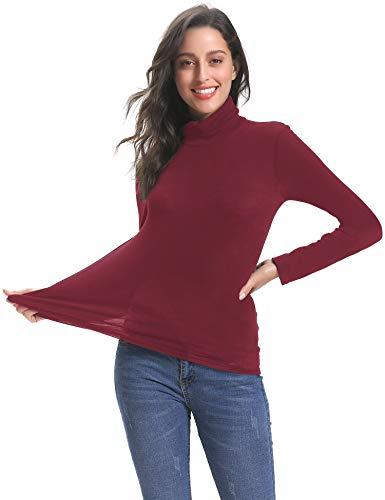 Abollria Damen Dünn Rollkragenpullover Basic Shirt Langarm Leicht Stretch Rolli als Unterhemd Weinrot