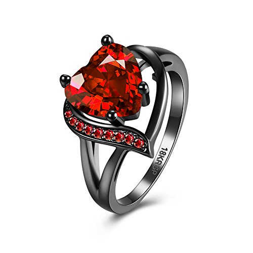Xiaodou Black Gun Ruby Cubic-Zirconia Ring Gold Plated Promise Band Ring Wedding Red Heart Cubic Zirconia Rings Black Gold Rings for Women (7)