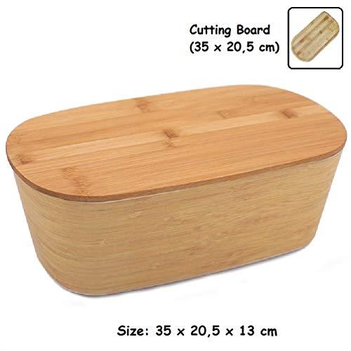 Panera Bambu con Tapa ♻ Panera de Fibra Bambú con Tabla de Cortar (Madera Bamboo) - Caja de Mesa Grande para Guardar Pan - Recipiente Ecologico para Barras - Rectangular Original - Eco, Sin BPA -35 cm