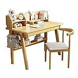 Juego de mesa y silla para niños, mesa y silla de estudio para niños simple y creativa, con estantería + cajón + marco inferior + gancho lateral, escritorio para computadora/escritorio con 1 si