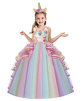 NEWEPIE Girls Unicorn Costume Pageant Princess Birthday Christmas Party Long Maxi Tulle Halloween Fancy Dress w/Headband Multicolored 10-11T