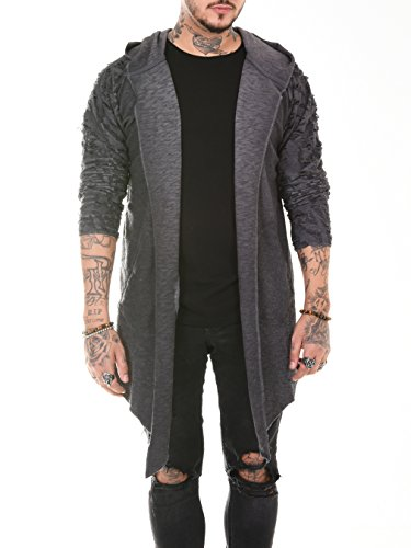 BAXMEN CULTWEAR Herren Cardigan Hoodie Destroyed Jacke Lang Strickjacke Hooded Long Sweatjacke Lang Vintage Slim Fit Anthrazit X-Large
