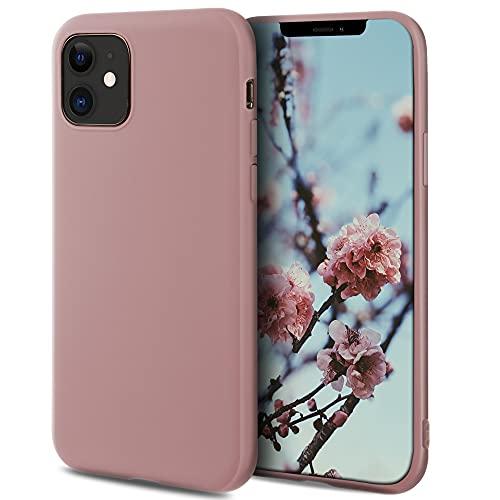 Moozy Minimalist Series Silikon Hülle für iPhone 12, iPhone 12 Pro, Rose Beige - Mattes Finish, Dünne, Weiche TPU-Handyhülle Schutzhülle
