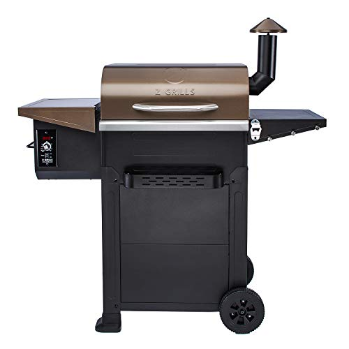 Z Grills Wood Pellet Grill&Smoker, 8 in 1 BBQ Grill Outdoor Smoker with 600 sq in Cooking Area, Auto Temperature Control Pellet Smoker(ZPG-L6002B)-Bronze