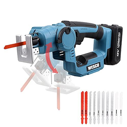 Cordless Jigsaw, WESCO Cordless Reciprocating Saw 18V 2-in-1, 2.0Ah Li-ion Battery, 2500SPM Variable Speed, Tool-Free Blade Change, 10 Saw Blades for Wood Metal PVC Ceramic Cutting / WS2979.1