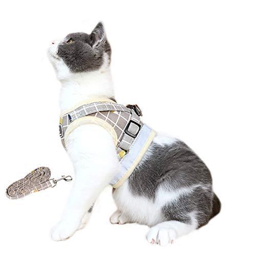 Fitlife Katzengeschirr mit Leine Aausbruchsicher Einstellbarer Welpengeschirr Katzengarnitur Geschirr für Katzen Verstellbar atmungsaktivem Mesh -L