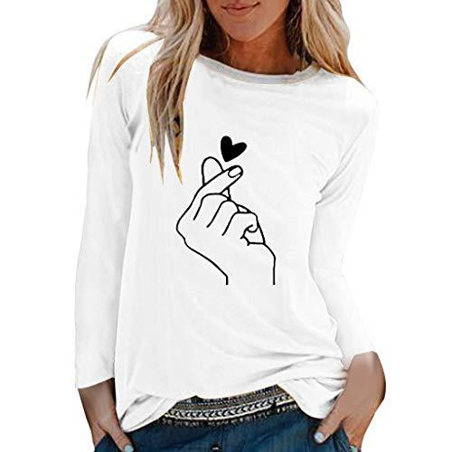 TUDUZ Camisas Mujer Manga Larga Blusas Impresión Tops Cuello Redondo Camisetas (Blanco.a, M)