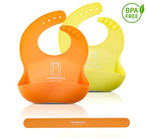 2er Set Babylätzchen mit Haltegurt 30x22cm - BPA-frei weiches Lätzchen Silikon Auffangschale - Kleckerfrei Essen mit Lätzchen Wasserdicht - einfache Reinigung, spülmaschinenfest YAMBINO® (Orange/Grün)