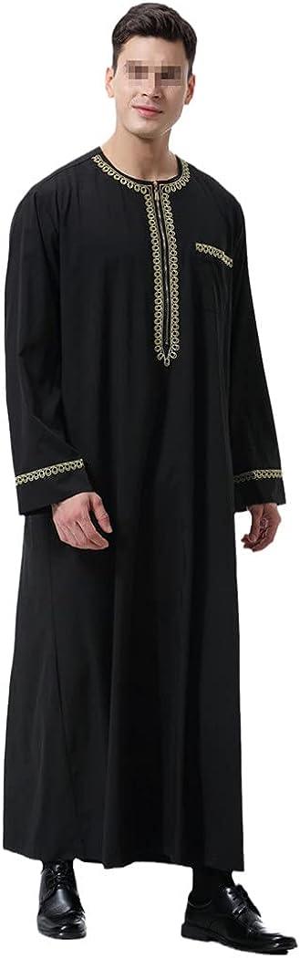 KEHAIEN Muslim Islamic Men Jubba Thobe Print Zipper Kimono Long Robe Saudi Abaya Caftan Dubai Arab Dress