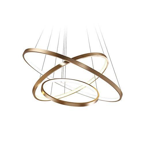 114W LED Dimmbar Pendelleuchte 3-Ring Gold Aluminium Acryl Kronleuchter Höhenverstellbar Rund Hängeleuchte Galerie Wendeltreppe Deckenlampe Esszimmer Büro Eßtisch, 40 60 80CM
