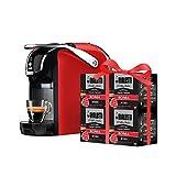 Bialetti New Break - Macchina Caffè Espresso a Capsule in Alluminio con Sistema Bialetti il Caffè d'Italia, Design compatto, Rosso, Include 64 Capsule In Omaggio