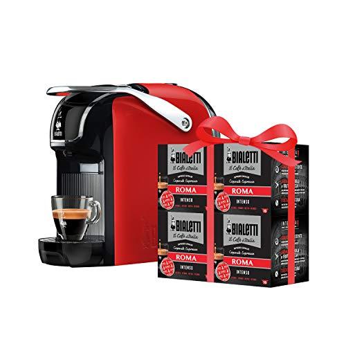 Bialetti New Break - Macchina Caffè Espresso a Capsule in Alluminio con Sistema Bialetti il Caffè d Italia, Design compatto, Rosso, Include 64 Capsule In Omaggio