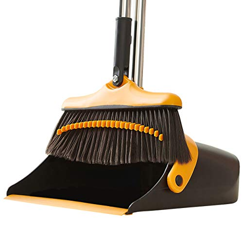Broom and Dustpan Set with Long Handle - Kitchen Brooms and Stand Up Dust Pan Magic Combo Set for Home - Lobby Broom with Rotation Head and Standing Dustpan for Floor Cleaning (Black and Orange)