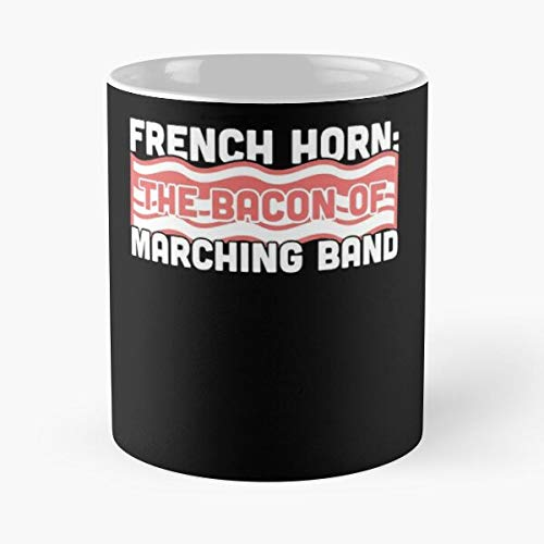 Chair Camp First French Horn Marching Clever Funny Band I FSGdesign- Best Mug holds hand 11 oz made from White marble ceramic