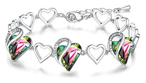 Leafael Mujer'Cristales del infinito amor del corazón pulsera hechos con Swarovski arco iris Turmalina Negro Protección de piedra curativo de regalos de joyas, en tono plateado, 7' +2'