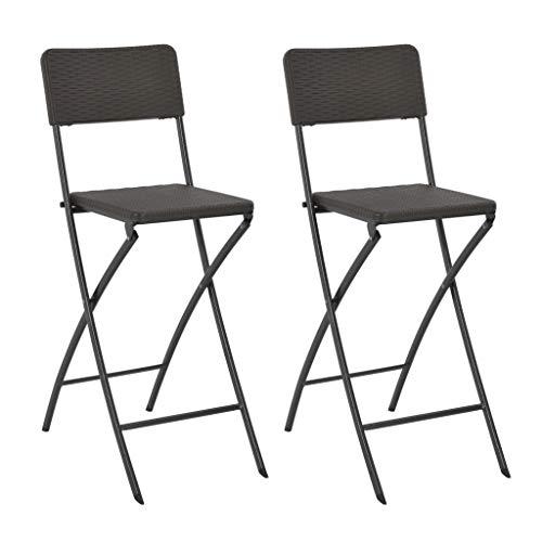 vidaXL 2x Barstoel Inklapbaar Rattan-Look HDPE Bruin Barkruk Stoel Barkrukken
