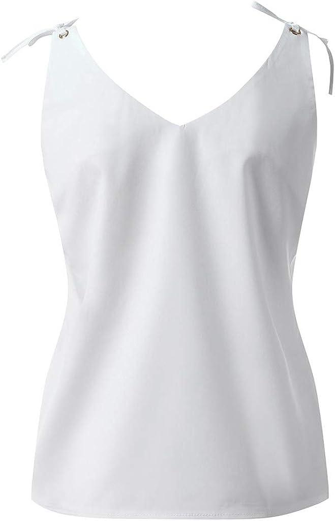 Damen /ärmellose Tanktops Damen Blumen V-Ausschnitt Cami Loose Weste T-Shirt Bluse TOFOTL 2020 Blusenshirt Damen