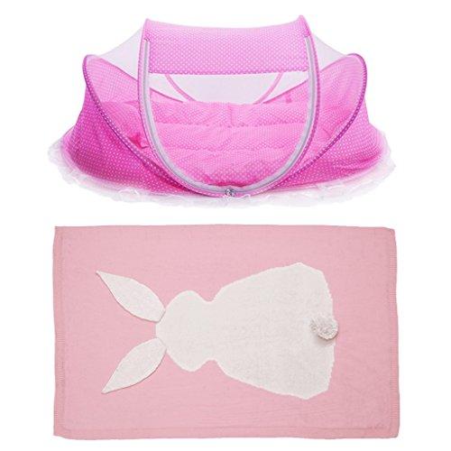 SM SunniMix Tienda de Campaña para Bebé Cama Plegable Cama de Viaje Mosquitera + Manta para Bebé