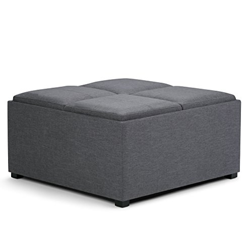 Simpli Home Avalon 35 inch Wide Square Coffee Table Lift Top Storage Ottoman, Cocktail Footrest Stool in Upholstered Slate Grey Linen Look Fabric for the Living Room, Contemporary