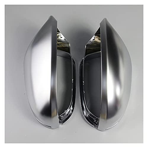 Coche Cubiertas Espejos Retrovisores Exteriores para Audi A6 C7 Side Door Mirror Shell Full Chrome-Chapado En Concha Matte Decoración Tapa del Espejo Retrovisor (Talla : Sin Asistencia Lateral)