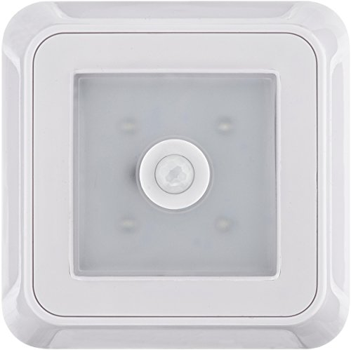 Müller Licht LED batterij lamp vierkant met bewegingsmelder wit incl. 4 x AAA batterij ML400081