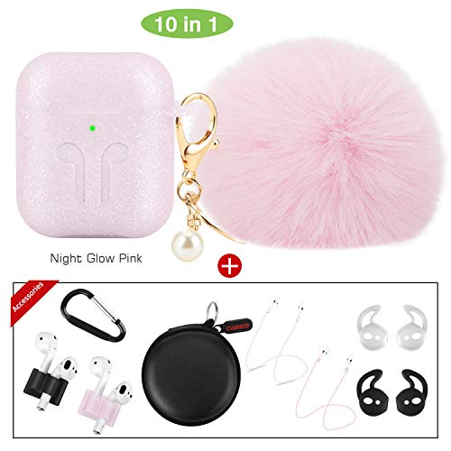 cuauco 2019 Newest AirPods Case Glow in The Dark with Fur Ball Keychain Compatible with Apple AirPods 1&2;Front LED Not Visible]with Strap/EarHook/Band Holder/Headphone Case(10 Pack)(Night Glow Pink)