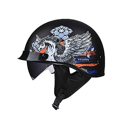 Casco de moto para adultos Harley semiabierto con visera, certificación DOT (C3, XL (61-62 cm)