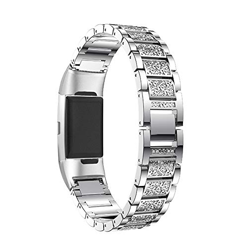 Aottom für Fitbit Charge 3 Armband Roségold,Armbänder Fitbit Charge 4 Damen Ersatzband Armband Charge3 Edelstahl Band Kristall Metall Fitness Fitbit Charge4 Zubehör für Fitbit Charge 3/Charge 4