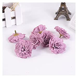 Artificial Flowers 10PCS Silk Artificial Flower Carnation Fake Flower Head for Wedding Home Decration DIY Wreath Gift Box Scrapbooking Craft Decorations (Color : Purple)