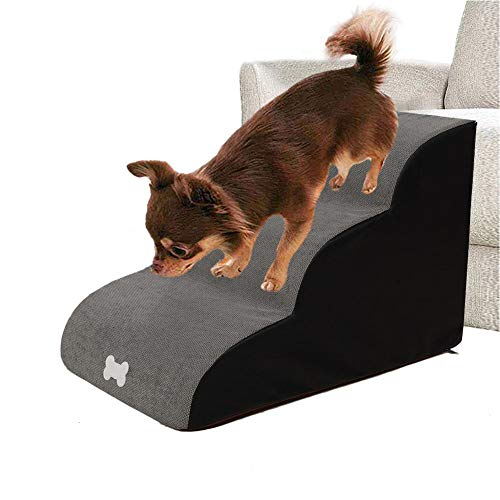 ANG Pet Climbing Stair, Pet Stairs, 3 Steps Stairs Pet Bed Steps, Small Dog Cats Removable Non-Slip Ramp Climbing Stair, Lightweight Pet Step Sofa Bed Ladder for Dog Cats Boat