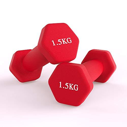Neopren Hanteln, Hex Kurzhanteln Set -2er für Aerobic, Gymnastik und Muskel Krafttraining (1.5kg / Rot)